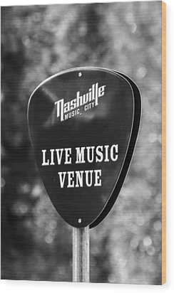 Nashville Music City Sign Wood Print by Debbie Green