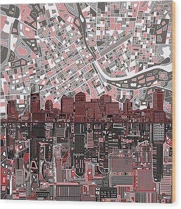 Nashville Skyline Abstract 3 Wood Print