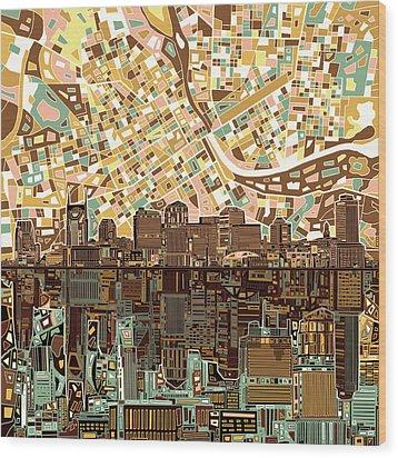 Nashville Skyline Abstract 4 Wood Print