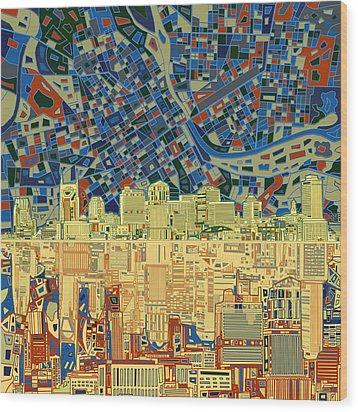 Nashville Skyline Abstract 9 Wood Print