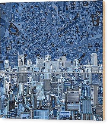 Nashville Skyline Abstract Wood Print