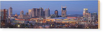 Nashville Skyline At Dusk Panorama Color Wood Print by Jon Holiday