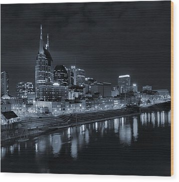 Nashville Skyline At Night Wood Print by Dan Sproul