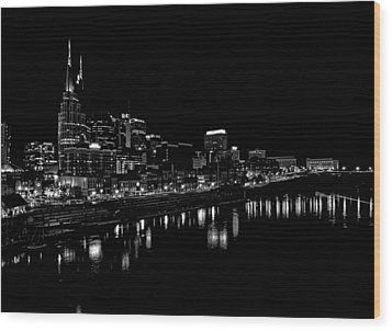 Nashville Skyline At Night In Black And White Wood Print by Dan Sproul