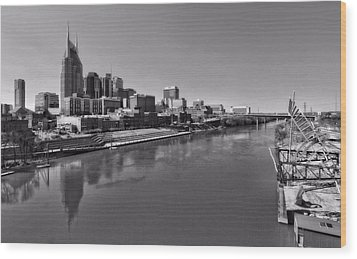 Nashville Skyline In Black And White At Day Wood Print by Dan Sproul