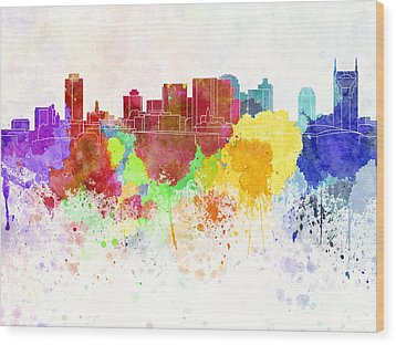 Nashville Skyline In Watercolor Background Wood Print by Pablo Romero