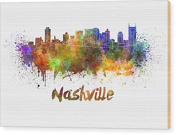 Nashville Skyline In Watercolor Wood Print by Pablo Romero