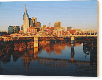 Nashville Skyline Wood Print by James Kirkikis