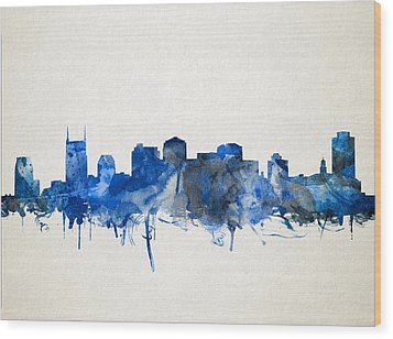 Nashville Skyline Watercolor 11 Wood Print