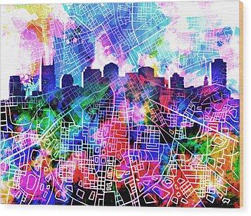 Nashville Skyline Watercolor 5 Wood Print