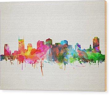 Nashville Skyline Watercolor 9 Wood Print