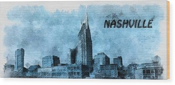 Nashville Tennessee In Blue Wood Print by Dan Sproul