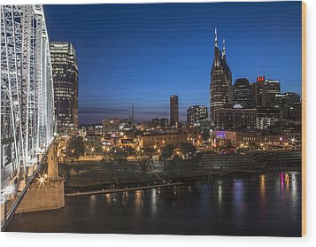 Nashville Tennessee With Pedestrian Bridge  Wood Print by John McGraw