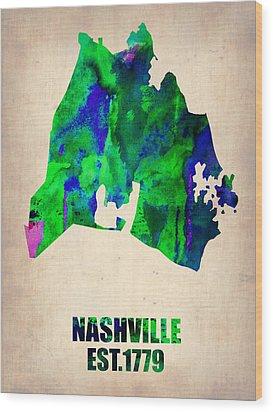 Nashville Watercolor Map Wood Print by Naxart Studio