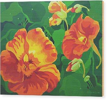 Wood Print featuring the painting Nasturtiums by Karen Ilari