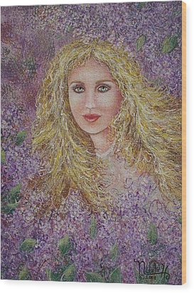 Wood Print featuring the painting Natalie In Lilacs by Natalie Holland