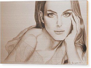 Natalie Portman Wood Print by Kim Lagerhem
