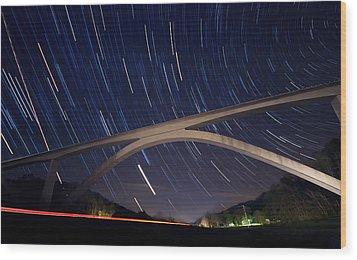 Natchez Trace Bridge At Night Wood Print by Malcolm MacGregor