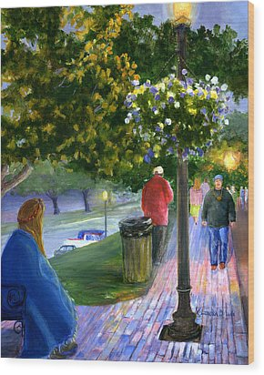 Wood Print featuring the painting Natchitoches Front Street Cane River by Lenora  De Lude
