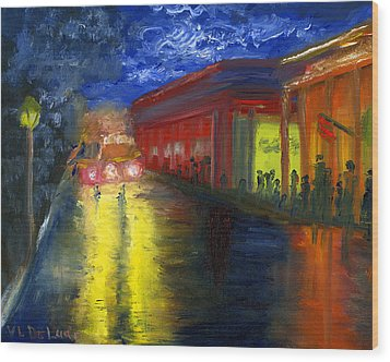 Natchitoches Louisiana Mardi Gras Parade At Night Wood Print by Lenora  De Lude