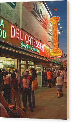 Nathans Coney Island Wood Print by James Kirkikis