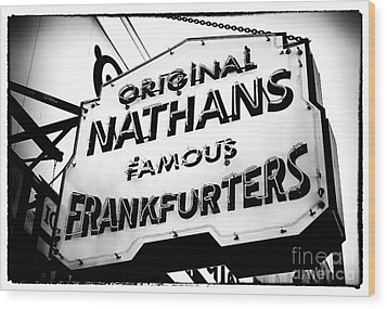 Nathans Famous Frankfurters Wood Print by John Rizzuto