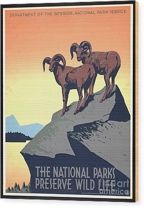 National Parks Poster 1939 Wood Print by Padre Art