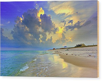 Wood Print featuring the photograph National Seashore Navarre Pensacola Beach Florida Blue Sunset Art Prints by Eszra