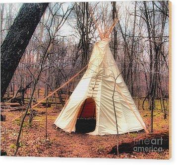 Native American Abode Wood Print