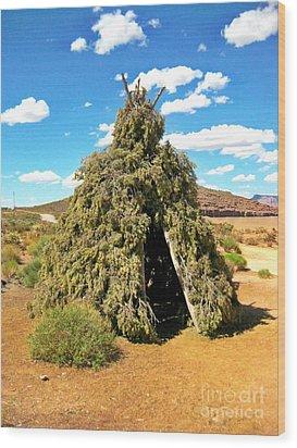 Native American Desert Cedar Lodge Wood Print by John Malone