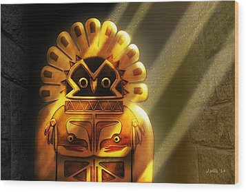 Native American Hawk Spirit Gold Idol Wood Print