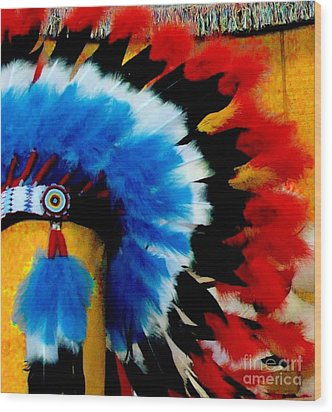 Native American Headdress Wood Print