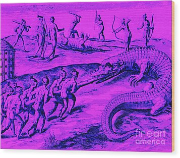Native American Indian Alligator Hunt Wood Print by Peter Gumaer Ogden