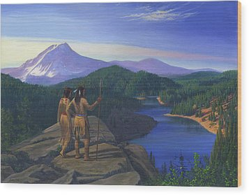 Native American Indian Maiden And Warrior Watching Bear Western Mountain Landscape Wood Print by Walt Curlee