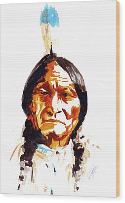 Wood Print featuring the painting Native American Indian by Steven Ponsford