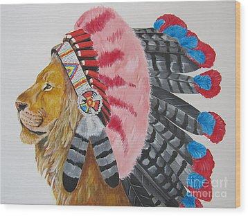 Native American Lion Wood Print
