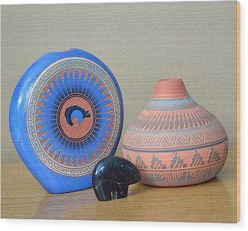 Native American Pottery Wood Print by Lena Wilhite
