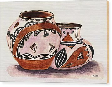 Wood Print featuring the painting Native American Pottery by Paula Ayers