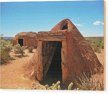 Native American Shelters Wood Print by John Malone