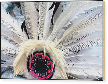 Native American White Feathers Headdress Wood Print by Dora Sofia Caputo Photographic Art and Design