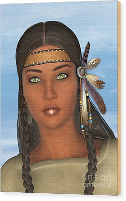 Native American Woman Wood Print by Design Windmill