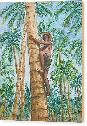 Native Climbing Palm Tree Wood Print by Val Miller