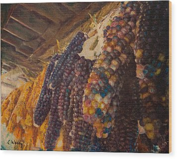 Wood Print featuring the mixed media Native Corn Offerings by Carla Woody