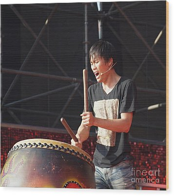 Native Drummer Performs In Taiwan Wood Print by Yali Shi