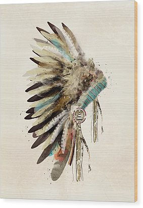 Native Headdress Wood Print