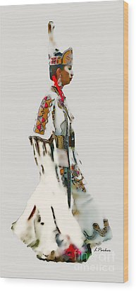 Native Indian Woman Dancer Wood Print by Linda  Parker