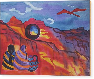 Native Women At Window Rock Wood Print by Ellen Levinson