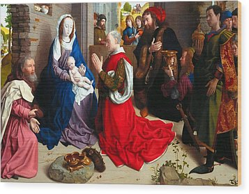 Nativity And Adoration Of The Magi Wood Print by Munir Alawi