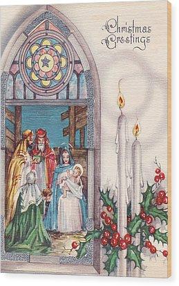 Nativity And Candles Wood Print by Munir Alawi
