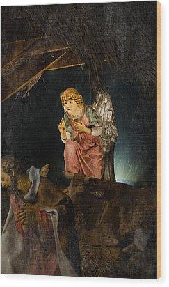 Nativity Angel  Wood Print by Susan  McMenamin